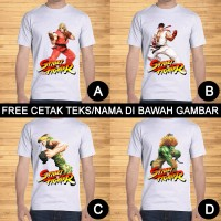 Kaos Dewasa Street Fighter Ken Ryu Guile Chun Li Custom Teks/Nama