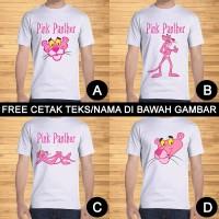 Kaos Dewasa Pink Panther Pria Wanita Kartun Karakter Custom Teks/Nama