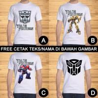 Kaos Dewasa The Transformers Pria Wanita Kartun Custom Teks/Nama