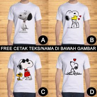 Kaos Dewasa Snoopy Pria Wanita Kartun Karakter Custom Teks/Nama
