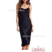 -Women�s Satin Silk Midi Dress Lace Women�s Party Casual Bodycon