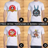 Kaos Dewasa Looney Tunes Logo Pria Wanita Kartun Custom Teks/Nama