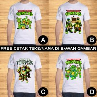 Kaos Dewasa Kura-Kura Ninja Turtles Pria Wanita Custom Teks/Nama