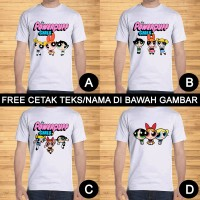 Kaos Dewasa Powerpuff Girls Pria Wanita Kartun Custom Teks/Nama