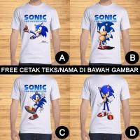 Kaos Dewasa Sonic The Hedgehog Pria Wanita Kartun Custom Teks/Nama