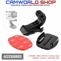 J Hook 3M Mount Adapter Bracket Action Cam GoPro - Brica - YI - SJCam
