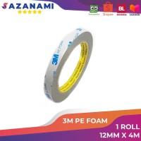 Double Tape busa 3M Pe Foam Tape 12mm x 4M 1/2 Inch