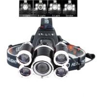 Paket Senter Kepala Headlamp Light Cree XM-L T6 + 4 XPE 40000 Lumens