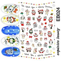 Christmas Santa Claus Ultra Thin Nail Sticker Stiker Kuku EB024