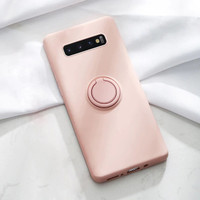 Case Samsung S10/S10e/S10 Plus Silicone Ring Holder Softcase Casing - S10e, Merah Muda
