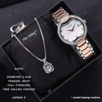 Jam Tangan Wanita/Cewek GUESS Rantai tanggal aktif free kalung
