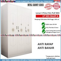 Lemari Pakaian Besi 3 Pintu FULL PLAT BESI LP503