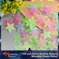 100pcs Hiasan stiker dinding bintang interior kamar anak menyala
