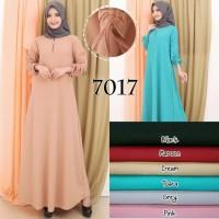Baju Gamis Wanita Terbaru Polos Tangan Serut Bahan Babat Crepe 7017 -
