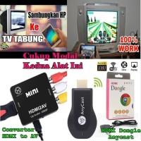 Paket HDMI Dongle + HDMI To AV Alat Konverter Dari Hp ke TV Tabung