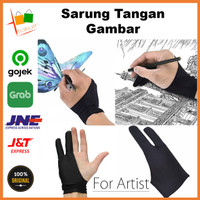 Sarung Tangan Gambar Dua Jari Drawing Glove Tablet Wacom Huion XP Pen