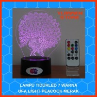 LAMPU TIDUR LED RGB 7 WARNA UFA LIGHT PEACOCK MERAK With REMOTE