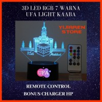 3D LAMPU TIDUR MEJA LED RGB 7 WARNA UFA LIGHT MAAKAH With REMOTE