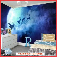 3D Wallpaper Dinding Langit-langit | Wall Sticker Custom | Xmas Natal
