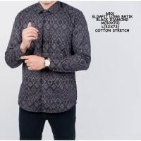 Kemeja Batik Pria Lengan Panjang Songket Premium / Batik Diamond Murah - Navy, M