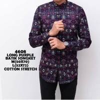 Kemeja Batik Pria Lengan Panjang Songket Premium / Batik Modern Murah - Hitam, M
