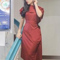Terlaris Dress Sabrina Cantik Scuba Merah Maroon Natal Imlek