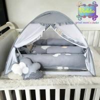 kasur bayi baby nest , bantal guling dan kelambu bayi dark cloud