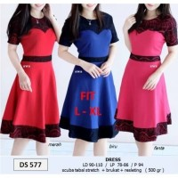SEDS577 DRESS PESTA FLARE LACE BRUKAT HITAM BODYCON SEPAN MURAH GROSIR