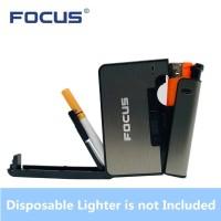 Kotak Rokok Fashion Bungkus Metal Case with Lighter Korek Api Slot