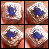 Cincin Batu Mulia Natural Blue Sapphire Safir Asli Alam Kilau Mantab