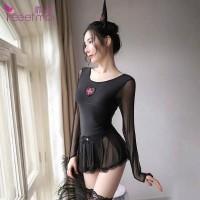L-1604 - Lingerie Black Nurse Witch Open Bust Costume