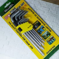 Kunci L Bintang Set 9pcs / Sellery Kunci L Extra Long Wrench 58-595