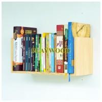 Rak dinding Kayu Solid Tempat buku/majalah Lebar
