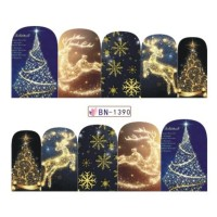 Christmas Lights Water Decal Nail Sticker Stiker Kuku Decal B1390