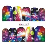 Christmas Water Decal Nail Sticker Stiker Kuku Decal B1381