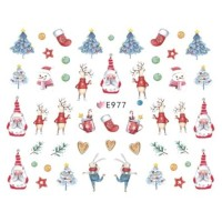 Christmas Cute Santa Reindeer Ultra Thin Nail Sticker Stiker Kuku E977