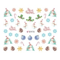 Christmas Snowman Ultra Thin Nail Sticker Stiker Kuku E970