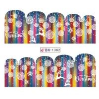 Christmas Rainbow Water Decal Nail Sticker Stiker Kuku Decal B1382
