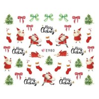 Christmas Cute Santa Claus Ultra Thin Nail Sticker Stiker Kuku E980