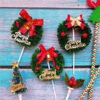 Tusuk Kue Krans Natal Murah Christmas Cake Topper Garland Pita Cherry