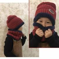 Topi Anak Kupluk Rajut Beanie dan Syal 1 Set Untuk Musim Dingin