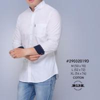 Kemeja lengan panjang putih & navy polos SLIMFIT   Kemeja Kantor Pria - Putih, L