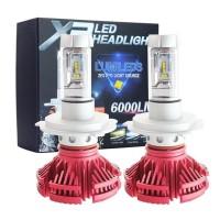 Terlaris` Lampu Led Mobil X3 H4 Red Edition Zes Chips 3 Warna 50 Watt