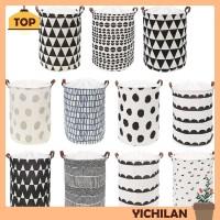 Borong yichi Keranjang Laundry Lipat Bahan Kanvas Motif Geometri