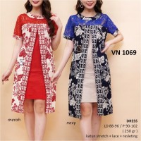 VN1069 - DRESS PESTA BATIK IMLEK DRESS BATIK NATAL LACE BRUKAT NAVY