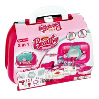 Mainan Anak Perempuan Beauty Fashion Girl Bag 2 in 1 Koper Pink