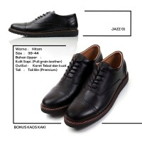 Sepatu Pantofel Pria Formal Hitam Kulit Asli Original - REYL Jazz 01
