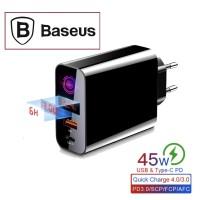 BASEUS Batok Kepala Charger Fast Charging 45W PD 3.0+ QC 3.0