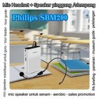 SPEAKER TOUR GUIDE WISATA WAISTBAND SPEAKER MIC HEADSET PHILIPS SBM200 - Hitam