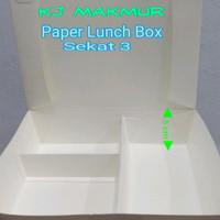Paper Lunch Box Sekat 3/Lunch Box Kertas/Kotak Makan/Box Bento Sekat 3